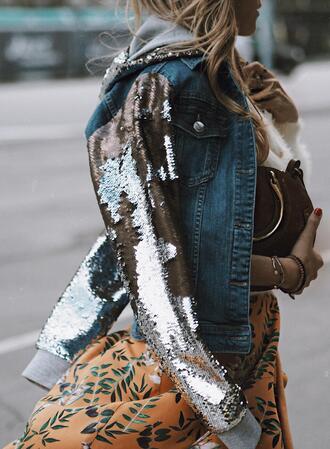 mesvoyagesàparis blogger jacket skirt top sunglasses bag denim jacket spring outfits orange skirt