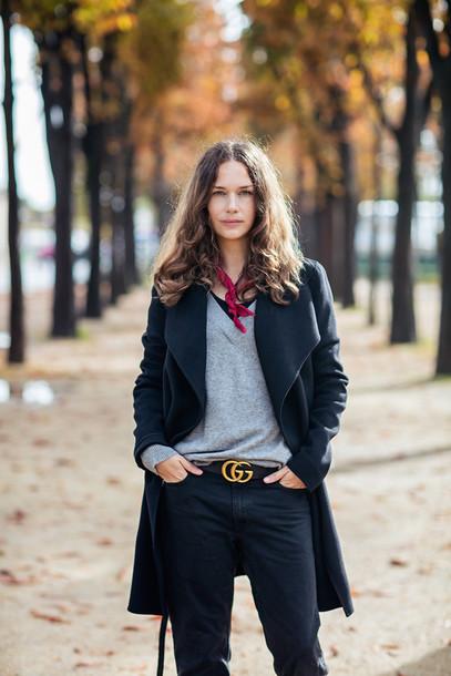 aea7a937610f carolines mode blogger sweater scarf black coat grey sweater black jeans  gucci