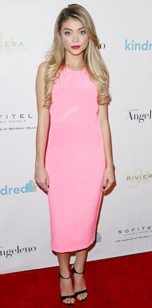 dress midi dress sarah hyland pink dress