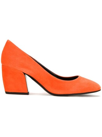 heel women pumps suede yellow orange shoes