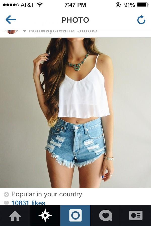 blouse white shorts cute instagram