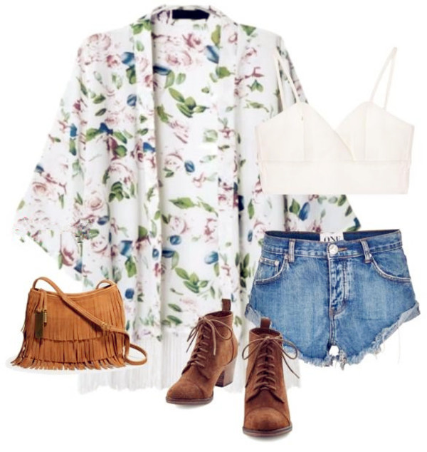 jacket kimono top shirt floral floral shirt clothes crop tops bralette bra denim shorts denim shorts jeans ripped jeans tassel boots shoes winter outfits outfit fashion bag fall outfits polyvore