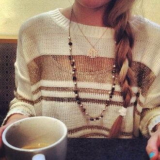sweater popular sweater gold white necklace coffee braid the most popular dresses blonde hair jewels blouse top chain