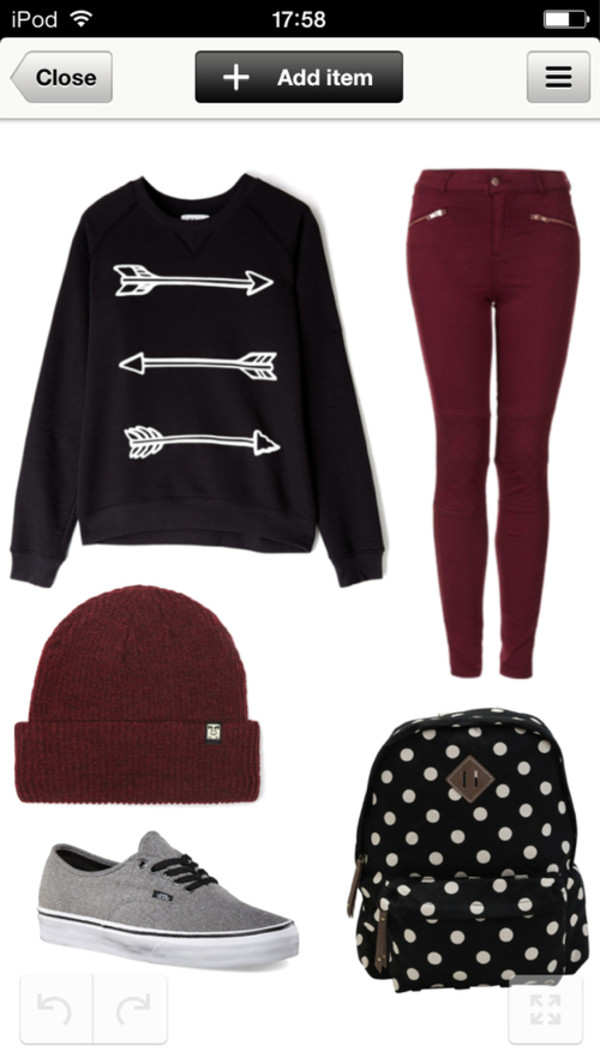 sweater vans pullover hat pants bag shirt black arrows love more
