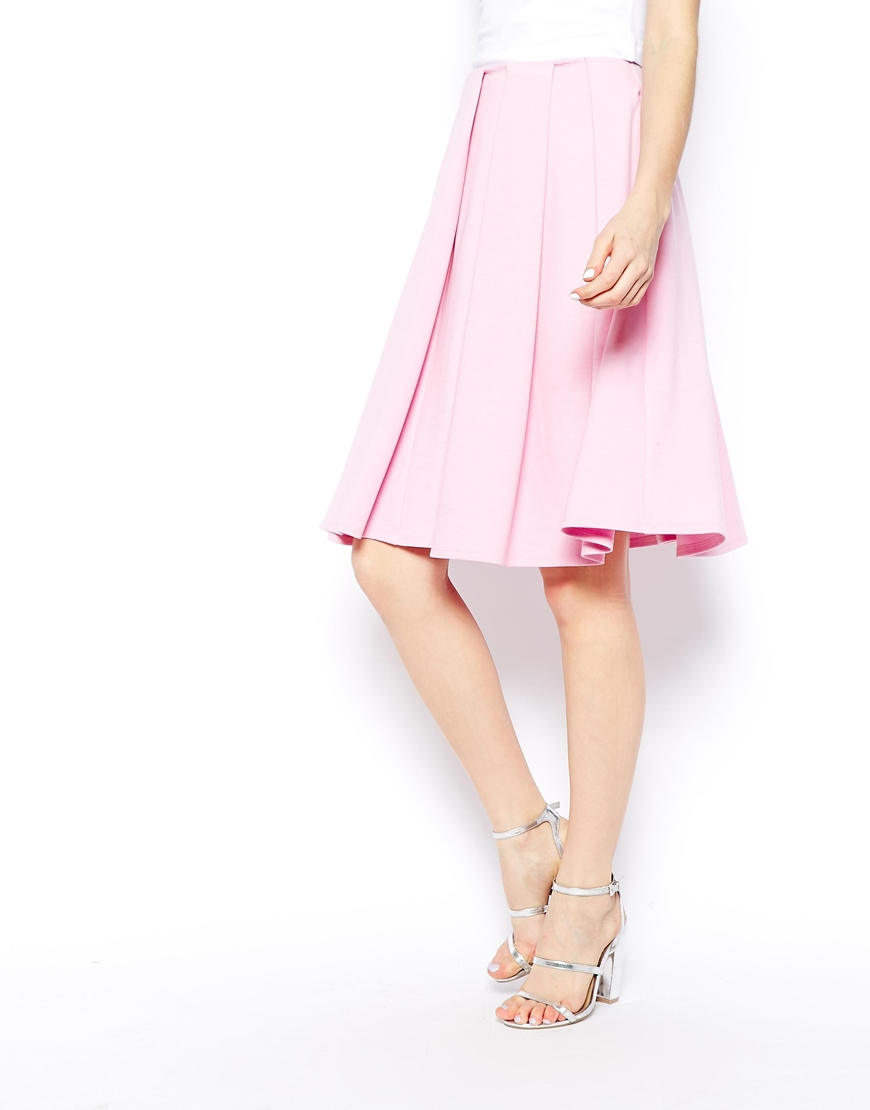 Asos midi skirt in ponte with bold pleats at asos.com