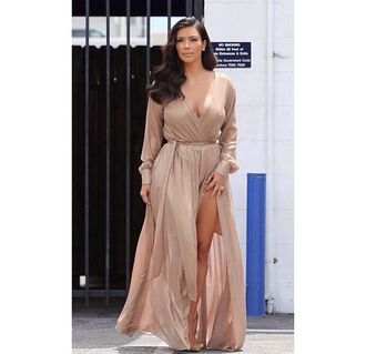 dress silk dress gown prom dress kim kardashian dress silk slit dress