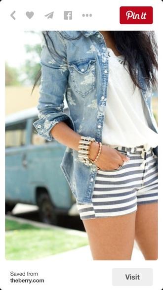 jacket denim jacket stripes shorts white
