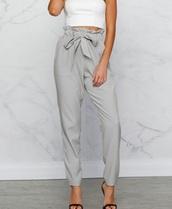 pants,girly,girl,girly wishlist,grey,high waisted,high waisted pants,cigarette pants