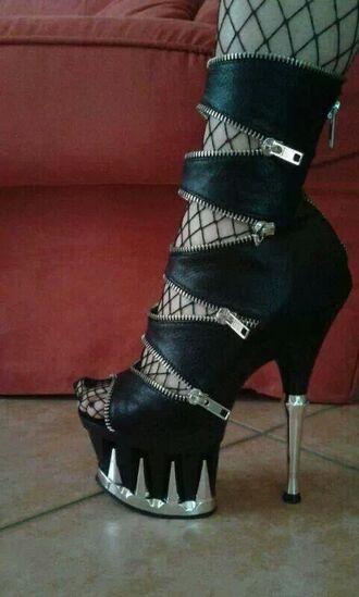 shoes black leather heels high heels zip zip up criss cross platform heels