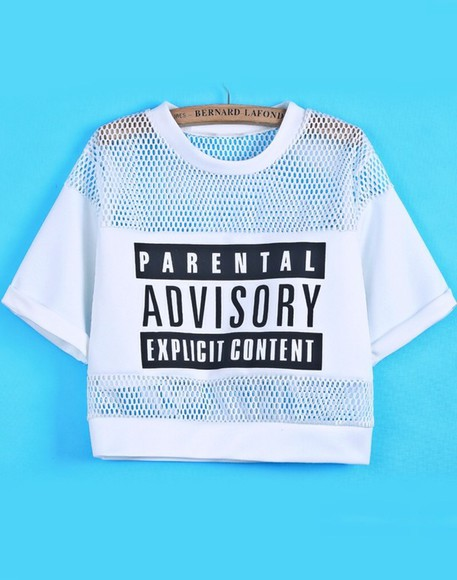 t-shirt white black top tshirt logo croptops monochrome mesh parental advisory explicit content mesh panel shirt