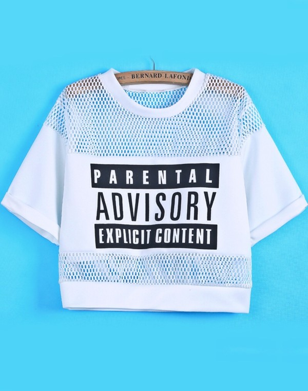 t-shirt crop tops white black monochrome mesh logo parental advisory explicit content t-shirt top mesh panel jumpsuit www.ebonylace.net shirt crop tops blouse