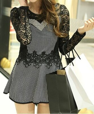 dress fashion check lace fall outfits fashional long sleeve round collar houndstooth print women's blouse girly cute trendy black and white long sleeves rosegal-dec