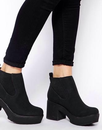 shoes boots heeled black chunky size 4 love fashion