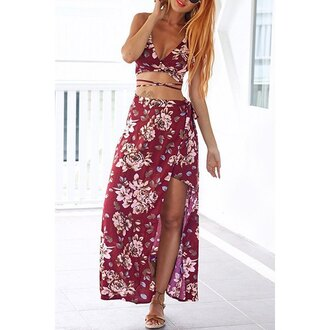 dress red floral fashion girly hot trendy maxi slit rose wholesale-ma