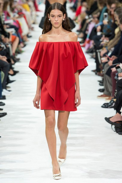 f15de969647 dress off the shoulder off the shoulder dress red dress red Valentino mini  dress runway model