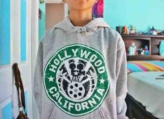 sweater hoodie grey hoodie cool vintage comfy disney hollywood california