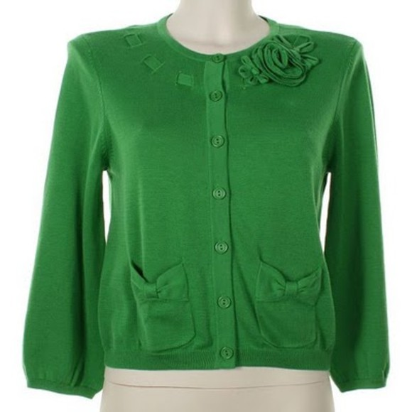 glee Emma Pillsbury Jayma Mays sweater green cardigan jacket
