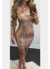 dress,champagne,bodycon dress,bodycon,nude,nude dress,sparkle,glitter,sequins,sequin dress,glitter dress,low back dress,long sleeve dress,short dress,party dress,special occasion dress,rose gold,rose gold dress no idea what brand  can you help?