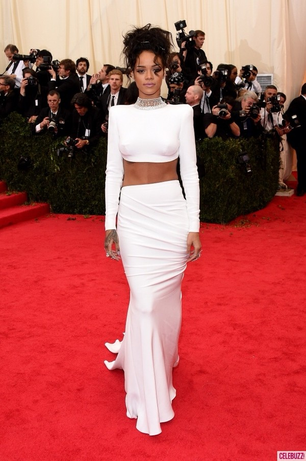 dress rihanna dress prom dress white dress rihanna white prom dress two-piece two-piece top two-piece