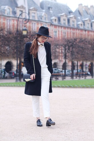 elodie in paris blogger coat pants hat black and white white shirt oxfords