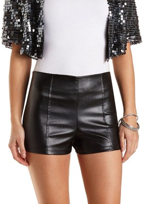 Waisted faux leather shorts