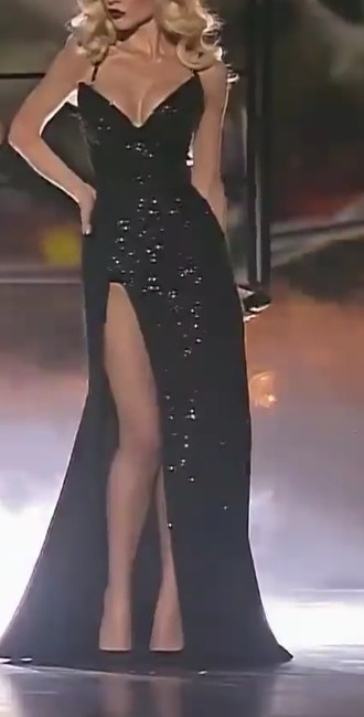 dress sequins black dress thigh-slit gown maxi dress glitter dress glitter sequin dress low cut dress black thigh-high slit prom dress