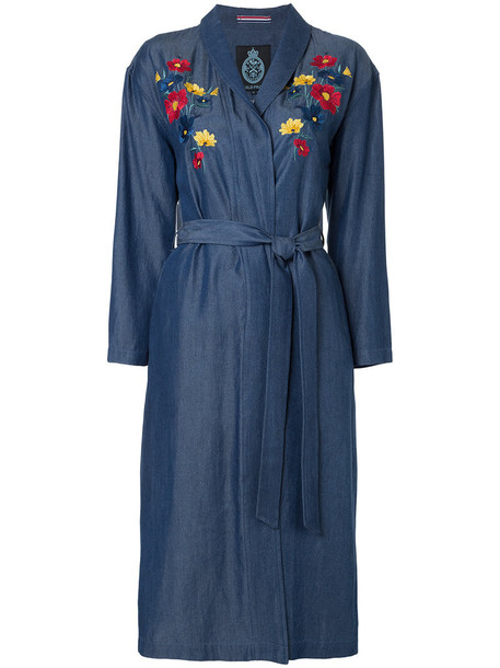 Guild Prime - floral embroidered cardi-coat - women - Tencel - 36, Blue, Tencel