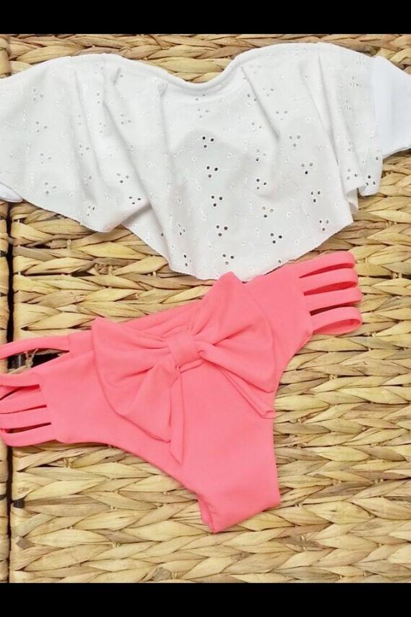 swimwear white bandeau coral bikini ruffled bikini ruffle trim bikini
