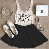 shirt,white,tank top,black skirt,studded,loafers,skirt,outfit,cream,sleeveless,white tank top,black,skater skirt,shoes,smoking slippers,studs,headband,white shoes,black skater skirt,bracelets,white purse,skate skirt,circle skirt,blouse,bag,t-shirt,jewels,vest,cool,today's outfit,ideas,idea,flats,girl,girly,hip,trendy,hipster,cute,nice,pretty,pearl,accessories,black and white,quote on it,top,todays outfit',todays outfit,brand,jewerly,ootd,jumpsuit,t shirt print