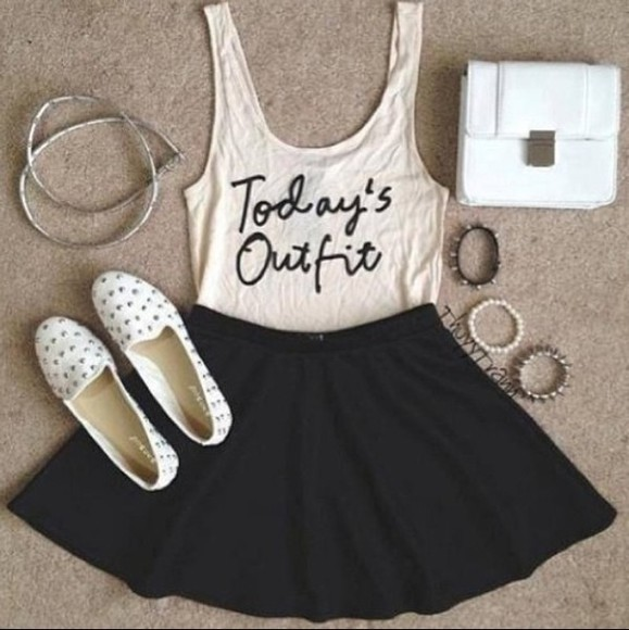 black and white shirt outfit skirt accesories studs