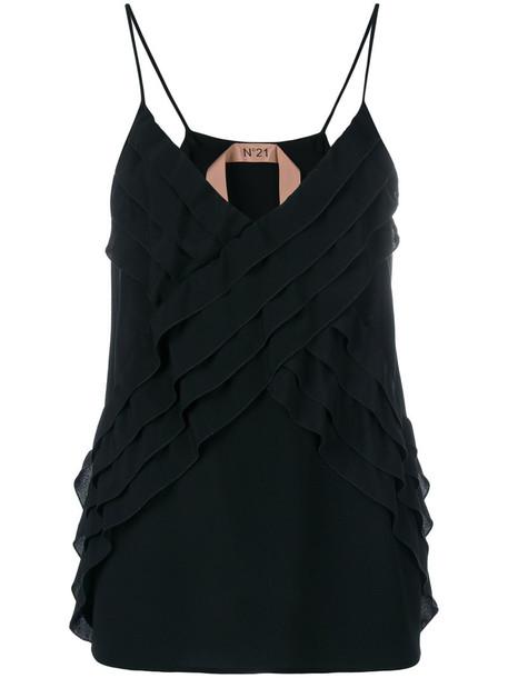 No21 blouse strappy women black silk top