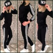 sweater,adidas,adidas suit,black adidas sweat pants,stripes,striped jumpsuit,sportswear,adidas sweater,adidas sweats,black,atlethic,sport suit,jogging suit,active wear,casual suit,casual,fitness,joggers,tracksuit,adidas stripes,women,girly,wishlist,preppy,musthave,must-have,sport romper,sporty romper,black romper,long black romper,two piece black,fashion,nike,jumpsuit,leggings,pants,romper