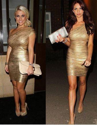 Gold one shoulder bandage dress from tumblr fashion on storenvy