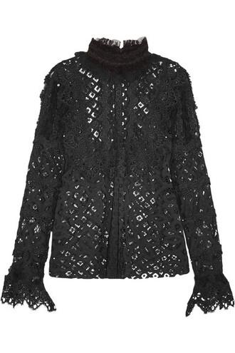 blouse mesh lace black crochet top