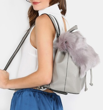 bag girl girly girly wishlist backpack back to school grey fur fur bag