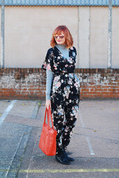 not dressed as lamb - over 40 fashion blog,blogger,jumpsuit,shoes,bag,sunglasses,jewels,nail polish,handbag,red bag,floral jumpsuit,boots