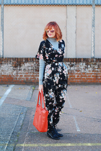 not dressed as lamb - over 40 fashion blog blogger jumpsuit shoes bag sunglasses jewels nail polish handbag red bag floral jumpsuit boots