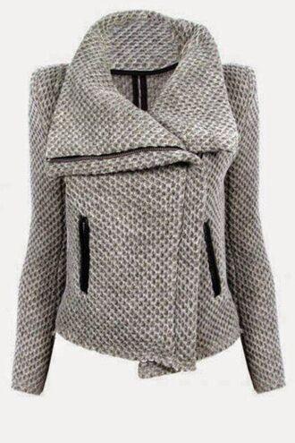 jacket grey jacket open collar fall jacket long sleeves grey sweater gray jacket