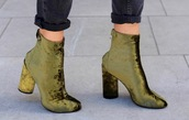 shoes,green boots,velvet boots,velvet,boots,ankle boots,high heels boots