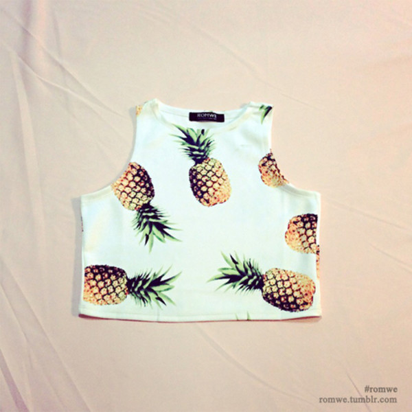 pinapple pineapple print crop tops