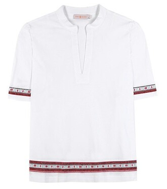 tunic embroidered cotton white top