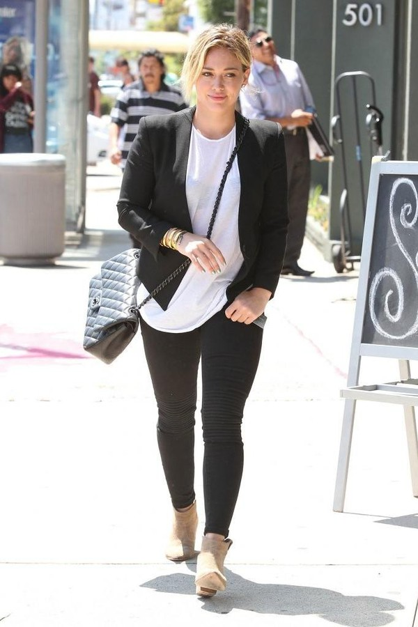 jacket ankle boots hilary duff bag blazer shoes