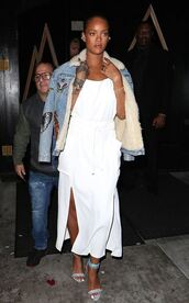 dress,summer,summer dress,white dress,midi dress,sandals,rihanna,jacket,denim jacket,shoes