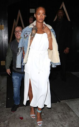 dress summer summer dress white dress midi dress sandals rihanna jacket denim jacket shoes