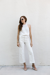 could i have that,blogger,pants,shoes,top,white top,white pants,sandals,high heel sandals