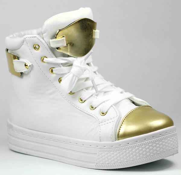 White Gold Metallic Toe Cap Lace Up Platform Sneaker Qupid Maniac 15 | eBay