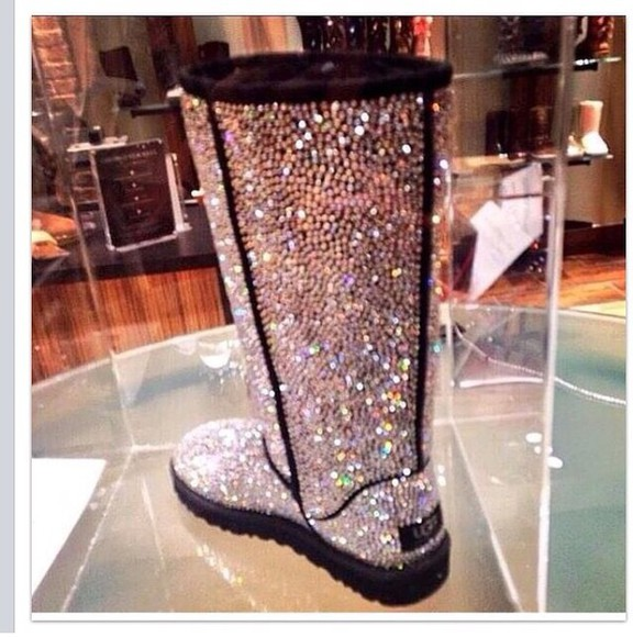 glitter boots glitter shoes uggs uggs chanel crystal silver