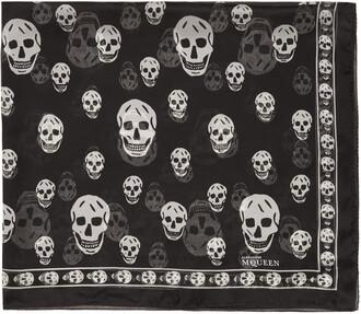 skull scarf black silk
