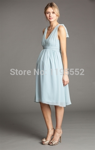 Light Blue Maternity Bridesmaid Dress