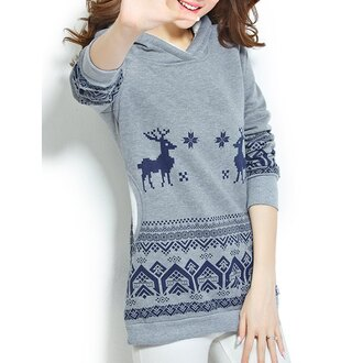 sweater fashion style grey blue warm cozy long sleeves christmas sweater hoodie trendy cool